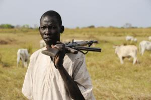 Many people have guns in South Sudan.