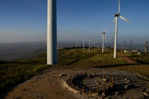 Africa must leapfrog to renewable-energy technology: windfarm near Kenya's Rift Valley.