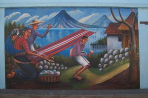 Guatemalan mural dipicting fate of indigenous people.