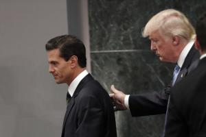 Donald Trump visiting Mexican President Enrique Peña Nieto in summer 2016.