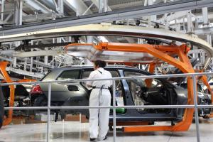 Robots are common in car production: VW production line in Puebla, Mexico.