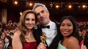 Role models matter: Yalitza Aparicio (right) was nomitated for, but did not win an Oscar for her role in Roma, which won the award for the best foreign language film while the jury considered Alfonso Cuaron (centre) the best director.
