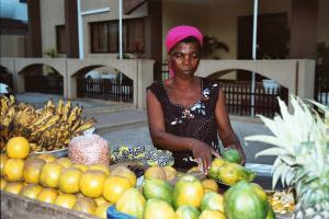 Fruit seller in Accra: agricultural commodities are the pillars oft he Ghana's economy.