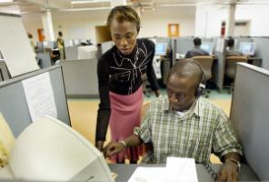 New industry: team leader and operator in a Senegalese call centre in 2004.