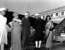 "Indian Prime Minister Jawaharlal Nehru visiting Washington in 1949: US President Harry Truman declared ""development"" of ""underdeveloped"" countries to be the goal of foreign policy during the Cold War."