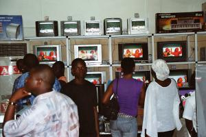 Increasing purchasing power: shoppers in the electronic goods department of a store in Accra in 2007.