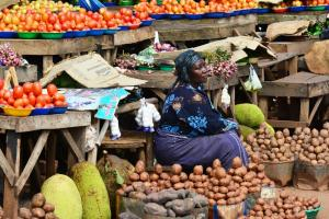 Fruit and vegetable market in Kampala, Uganda's capital.