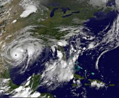 Hurricane Harvey approaching the coast of Texas on 25 August.