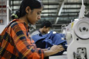 Beximco textile factory in Dhaka, Bangladesh, produces Jeans for export for western discounter