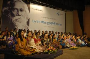 Singers celebrating Rabindranath Tagore's legacy in Bangladesh.