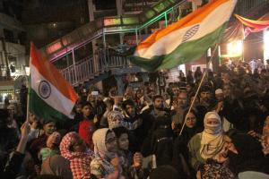 Protesters in New Delhi's Shaheen Bagh neighbourhood in early February.