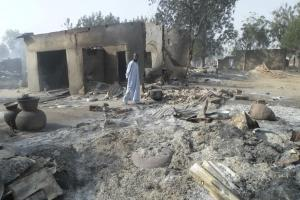 A village destroyed by Boko Haram near Maiduguri in Nigeria: The terrorist militia contributes to the destabilisation of the Lake Chad region.