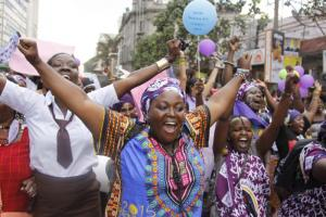 African women demonstrating in Nairobi against female genital mutilation and other forms of violence.
