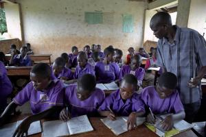 Violence in the classroom is too common: a school in Uganda.