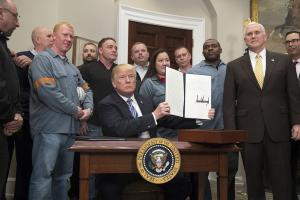 Trump invited steel workers to watch him sign his proclamation on tariffs.