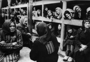 One lesson of Nazi atrocities is that a just social order must prevent cruelty: inside one of the women's barracks in Auschwitz in 1945.
