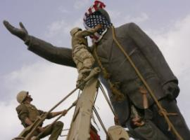 US soldiers pulling down a statue of Saddam Hussein in Iraq in 2003.