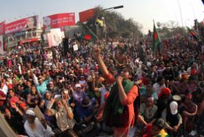 Rally on Shahbagh Square in February.