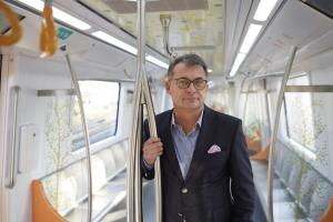KfW Board Member Joachim Nagel during a test run on the new Metroline in Nagpur, promoted by KfW.