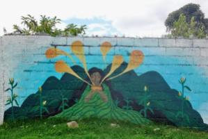 Chichamama painted on the wall of Mutualitos.