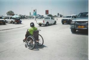Everyday life is difficult for people with disabilities in Africa: Wheelchair users in Ongwediva, Namibia.