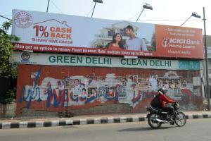 A green and clean Delhi was the declared aim five years ago when this photograph was taken. Air quality has significantly deteriorated since then.