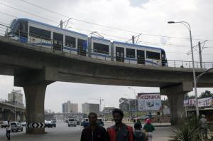 China supports building African infrastructure: the light rail in Addis Ababa is an example.