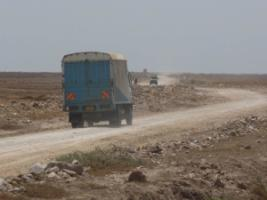 African road systems tend to be poor: truck in Tanzania in 2010.