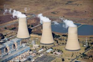 Carbon intensive power plant: coal-fired electrical plant Lethabo Power Station in South Africa.