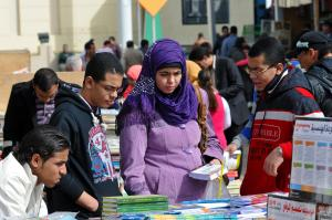 Classical Arabic is mostly written, but rarely spoken – book fair in Cairo.