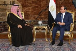 Egypt's President Abdel Fattah al-Sisi (right) at a meeting with Mohammad bin Salman, Saudi deputy crown prince and defence minister.
