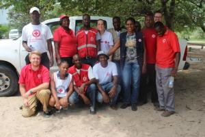 Red Cross activists in Namibia: Rosemary Nalisa is standing in the front row, Brian Patjens is the blond man in the first row.