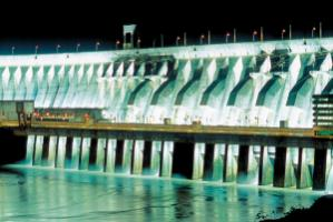 Itaipu dam in Brazil, pictured  at night, is the world's largest hydroelectric power plant