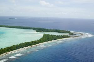 """The poor and poorest countries need money now to adapt to what has become inevitable change."" A shoreline in Tuvalu"