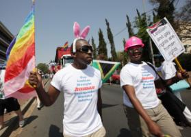 South Africa is an exception: participants in Johannesburg's gay-pride parade in October last year