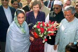 In 2006, Sheikh Hasina, then opposition leader, celebrated the Nobel Prize with Yunus