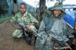 Workday life in weapons: young soldier in the Congo