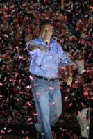 The future president of Peru, Ollanta Humala, jubilant after the announcement of first election projections