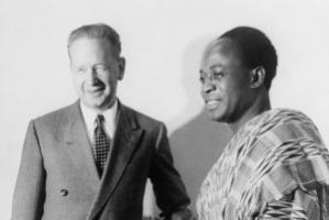 Dag Hammarskjöld welcoming Kwame Nkrumah, the prime minister of newly independent Ghana at the United Nations in 1958