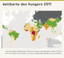 According to the latest Global Hunger Index GHI in the decades 1990-2011, famine problems have continued to increase in three countries: Côte d'Ivoire, Democratic Republic of Congo and North Korea