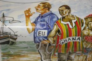Ghanaian poster criticising EU export subsidies for vegetables and poultry products