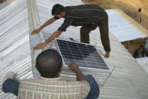 The installation of a solar panel in Mymensing, Bangladesh