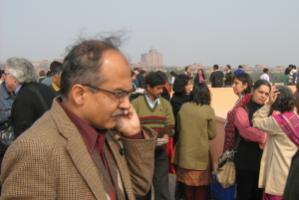 Practitioners and scholars need to share insights: eminent lawyer Prashant Bhusan making a phone call  during the lunch break of the inaugural conference of the Law and Social Science Research Network in Delhi in 2009