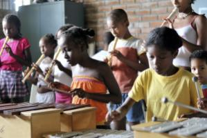Children's music group in a slum in Buenaventura, Colombia
