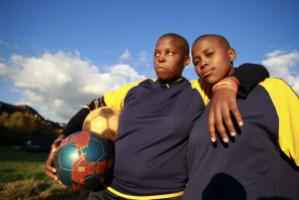 Members of women's football club in Cape Town