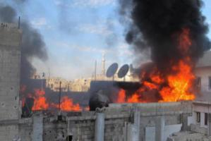 Fire in Homs, Syria