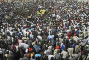 """Nigeria's citizenry is aroused."" Protest in Lagos in January"