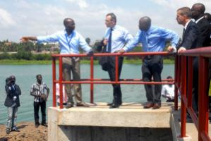 Andris Piebalgs, the EU commissioner for international development, visiting an infrastructure project in Togo