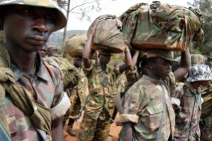 Militiamen retreating from Bukavu in 2004