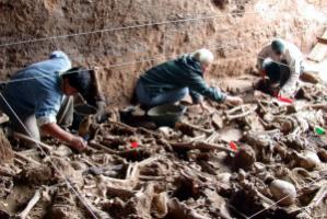 A non-governmental forensic team investigating in a mass grave in Argentina